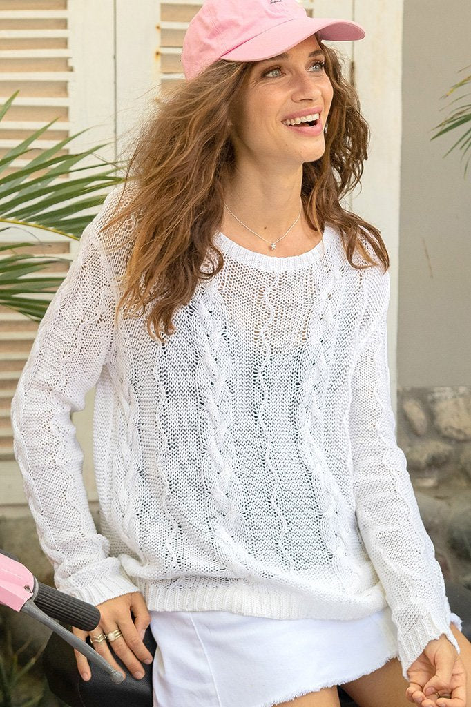 Women's Fayre Cable Crew Cotton Sweater's | Wooden Ships Knits