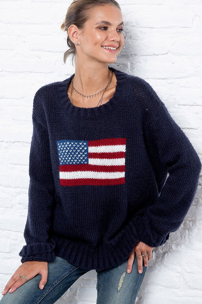 Women's Flag Crew Sweater's | Wooden Ships Knits