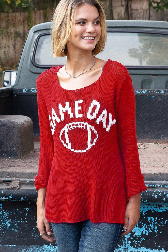 Women's Game Day Football Crew Cotton Sweater's | Wooden Ships Knits
