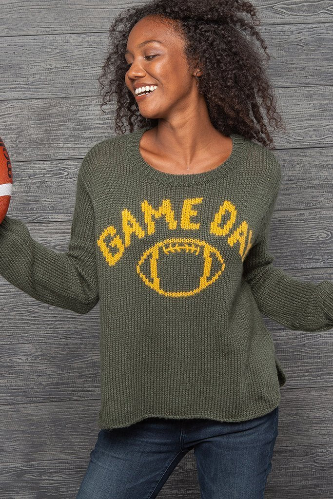 Women's Game Day Football Crew Chunky Sweater's | Wooden Ships Knits