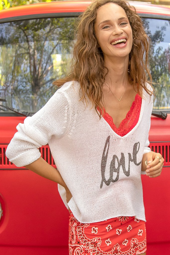 Women's Love Crop V Cotton Sweater's | Wooden Ships Knits