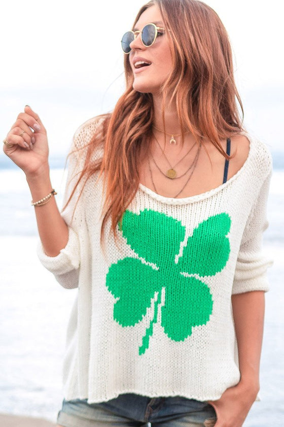 Women's Lucky Clover Cotton Sweater's | Wooden Ships Knits