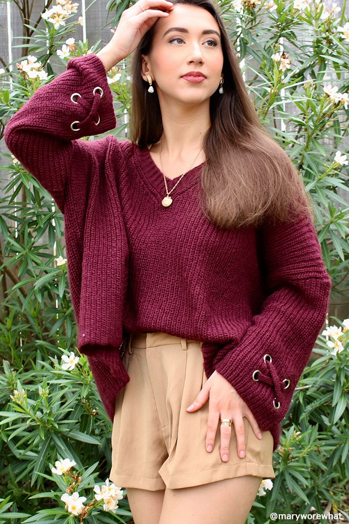 Women's Oversized Grommet V Lightweight Sweater's | Wooden Ships Knits