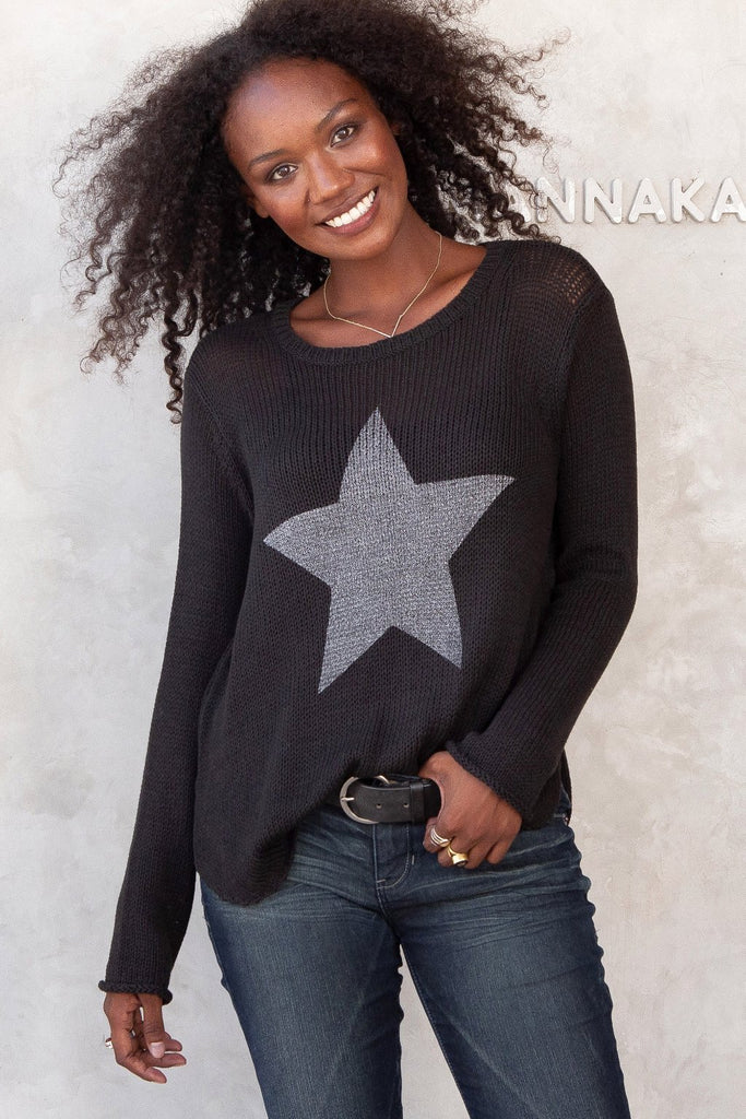 Women's Metallic Star Crew Cotton Sweater's | Wooden Ships Knits