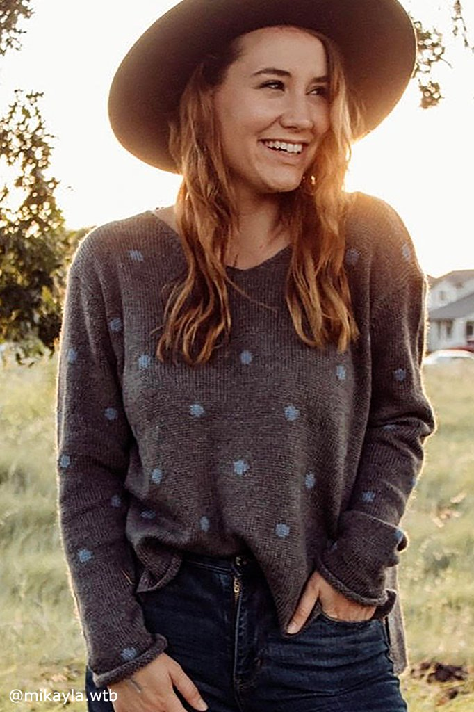 Women's Polkadot V-Neck  Sweater's | Wooden Ships Knits
