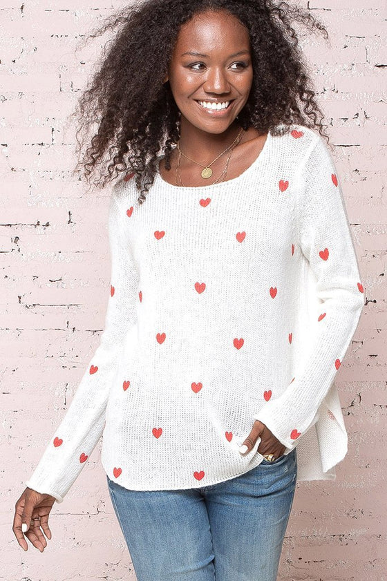 Women's Mini Heart Crew Lightweight Sweater's | Wooden Ships Knits