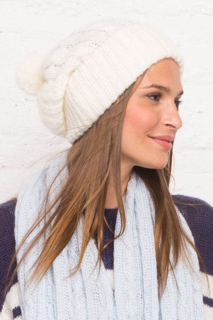 Women's Drew Cable Pom Pom Beanie Sweater's | Wooden Ships Knits