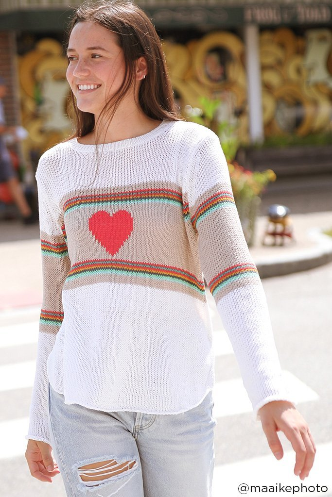 Women's Rainbow Heart Crew Cotton Sweater's | Wooden Ships Knits