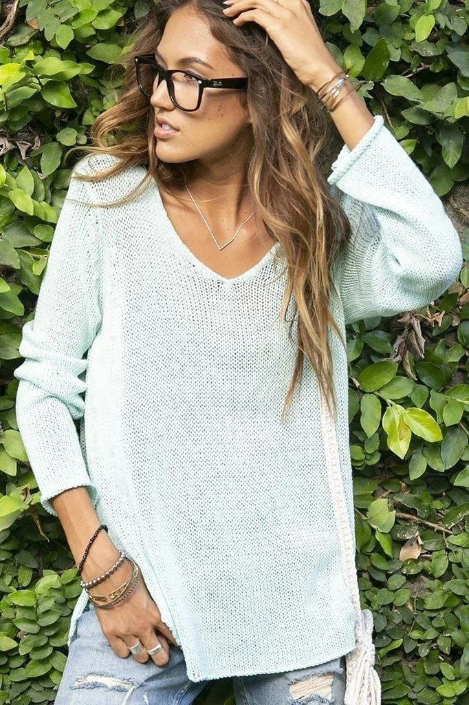 Women's Shirt Tail V Tunic Cotton Sweater's | Wooden Ships Knits