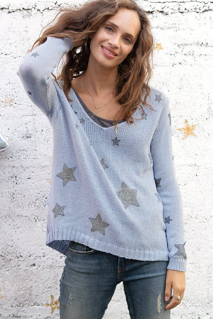 Women's Starry Top V Cotton  Sweater's | Wooden Ships Knits