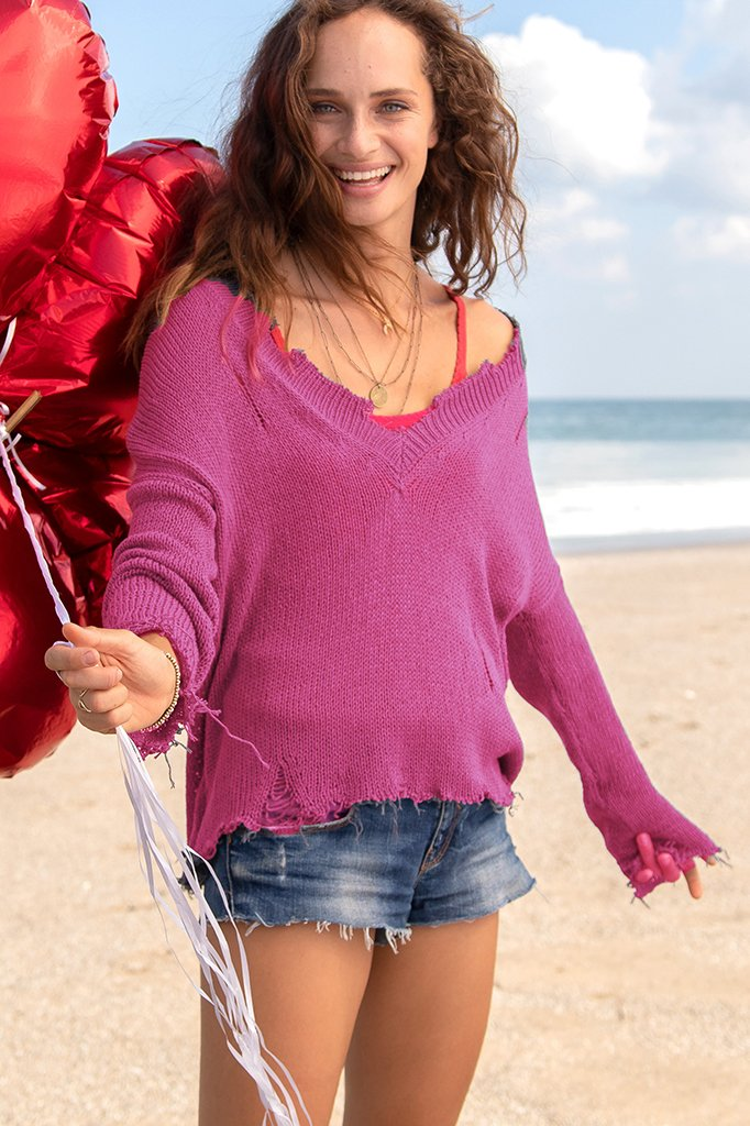 Women's Super Destroyed V Cotton Sweater's | Wooden Ships Knits