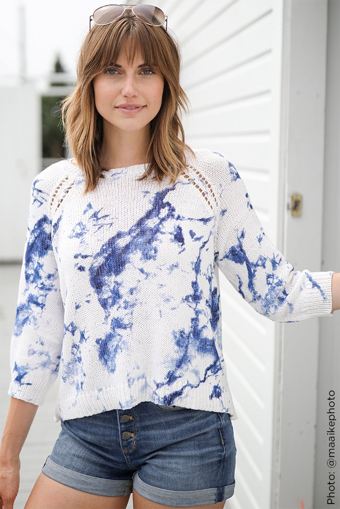 Women's Tie Dye 3/4 Sleeve Crew Sweater's | Wooden Ships Knits