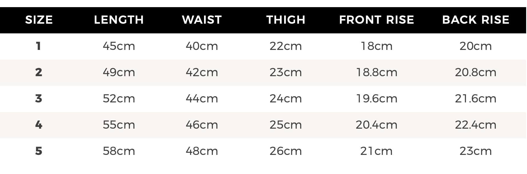 Karibou Kids ribbed legging size chart