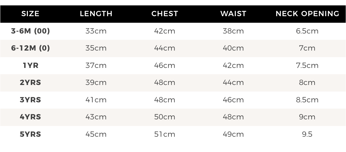 Kids ribbed swimsuit size chart - Karibou NZ