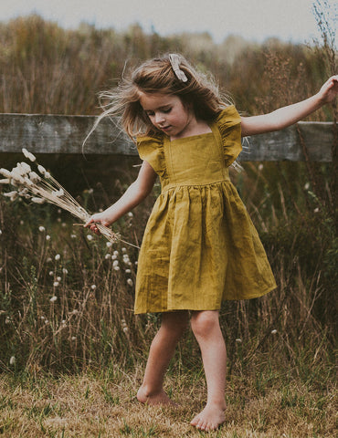 My Little Sunshine Linen Dress - Golden Olive