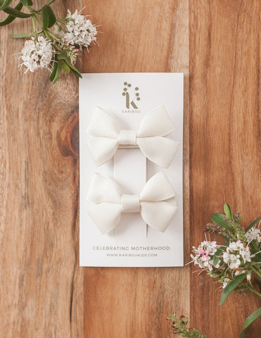 Harper 2pc Bow Hairclip Set - Cream