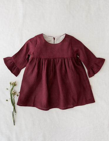 Indi Bell Sleeve Linen Dress - Plum