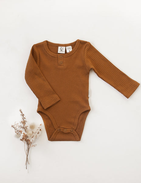Willow Long Sleeve Cotton Bodysuit - Antique Gold