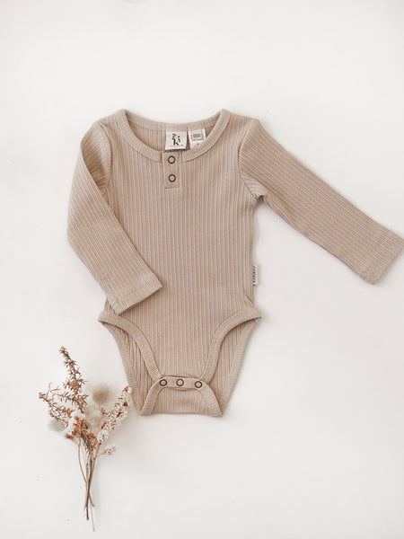 Willow Long Sleeve Cotton Bodysuit - Fawn
