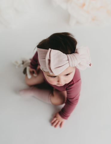 Organic Cotton Baby Topknot Headwrap - Pink Dust