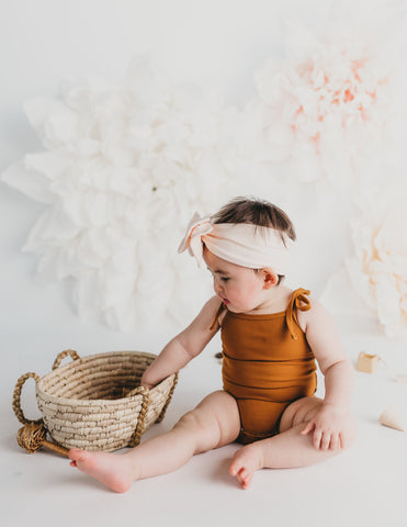 Sienna Cotton Sunsuit in Vintage Gold