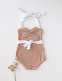 Sail and Swim Vintage Style One-Piece Girls Swimsuit