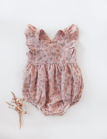 Karolina Linen Playsuit in Cotton Puff Print - Dusty Pink