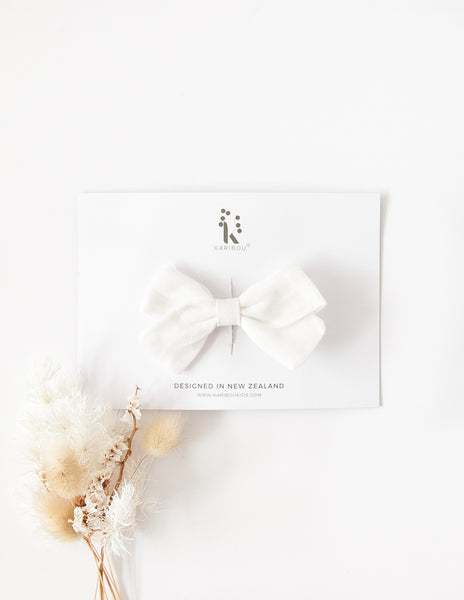 Lulu Linen Bow Headband or Clip - Warm White