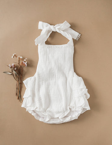 Peppa Ruffle Bottom Cotton Playsuit - Warm White