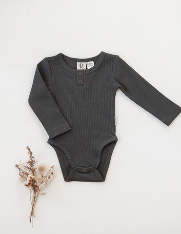 Willow Long Sleeve Cotton Bodysuit - Pepper