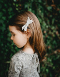 School Girl Linen Bow 2pc Clip Set or Headband - Raindrop