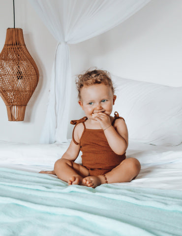 Sienna Ribbed Cotton Sunsuit in Acorn
