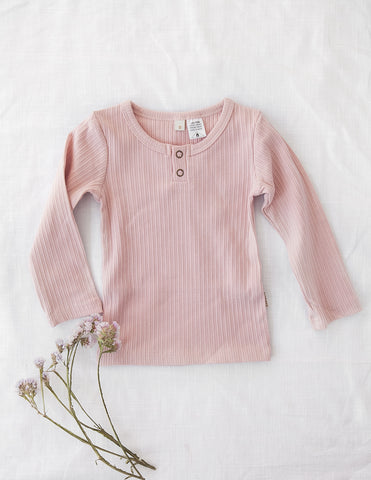 Willow Long Sleeve Henley Cotton Top - Soft Pink