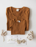Willow Long Sleeve Henley Cotton Top - Antique Gold