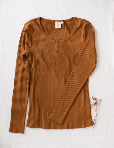 Ladies Willow Long Sleeve Henley Cotton Top - Antique Gold