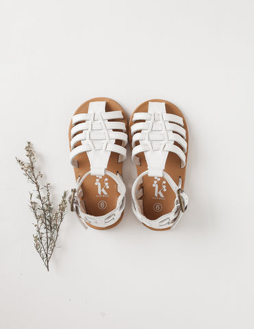 Aella Genuine Leather Sandals - White