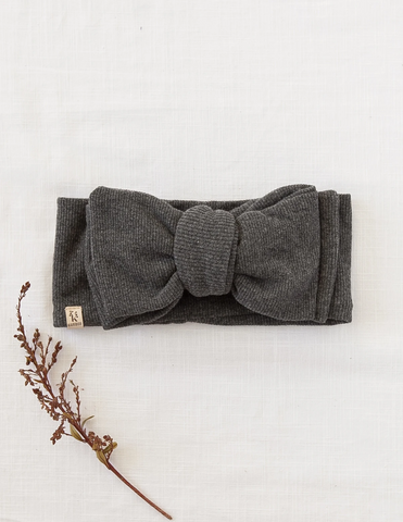 Ribbed Oversized Bow Headwrap in Marle Grey