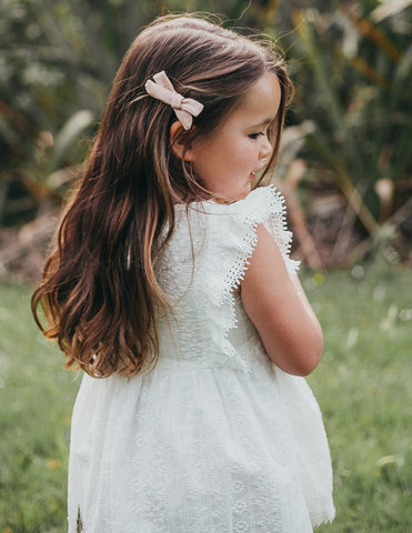 Little Angel Cotton and Lace Dress - White