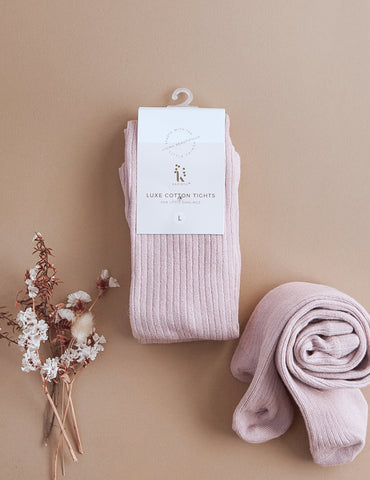 Classic Ribbed Tights - Rose Blush