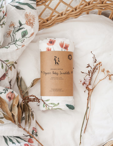 Organic Cotton Muslin Baby Swaddle - Botanical