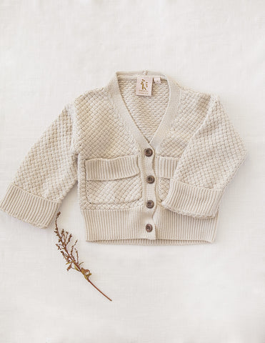 Carter Boys Cotton Knit Cardigan - Natural