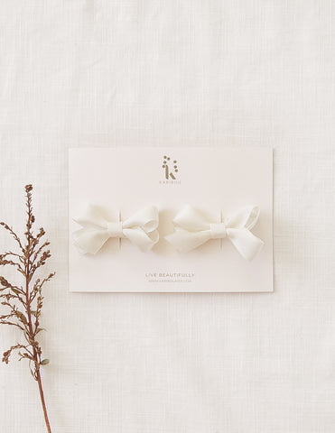 Charlotte Pigtail Bow Hairclip Set - Cream