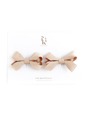 Charlotte Pigtail Bow Hairclip Set - Tan