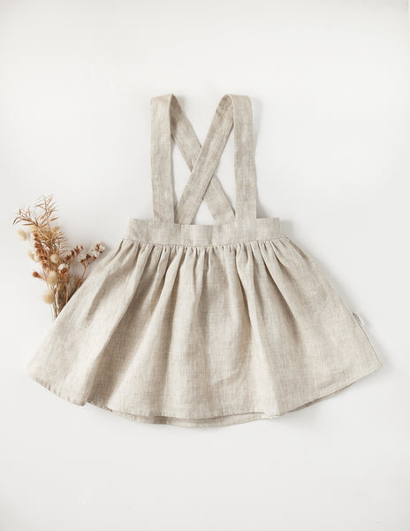 Coco 100% Linen Suspender Skirt - Natural Edition