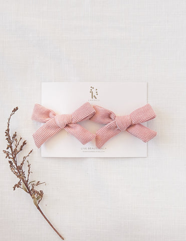 School Girl 2pc Corduroy Bow Hair Clip Set - Blush