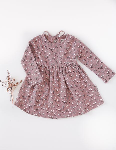 Cotton Puff Long Sleeve Pocket Dress - Dusty Rose