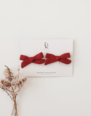 School Girl Linen Bow 2pc Clip Set or Headband - Deep Red