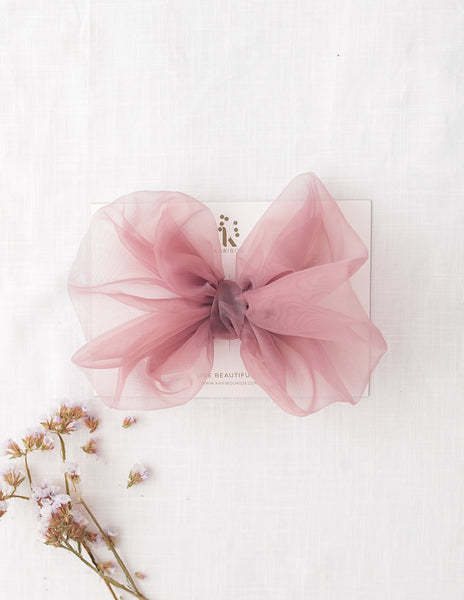 Mia Vintage Organza Bow Hairclip or Headband - Dusty Rose