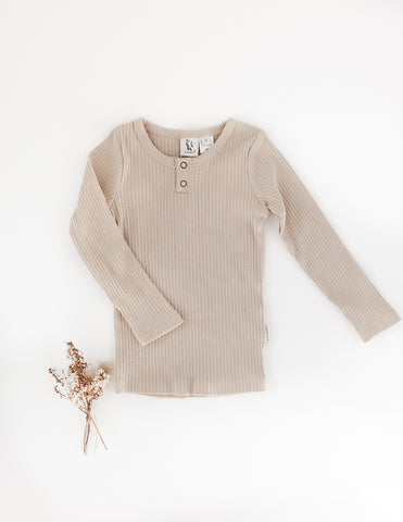 Willow Long Sleeve Henley Cotton Top - Fawn