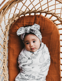 Organic Cotton Baby Topknot Headwrap - Forest Walk